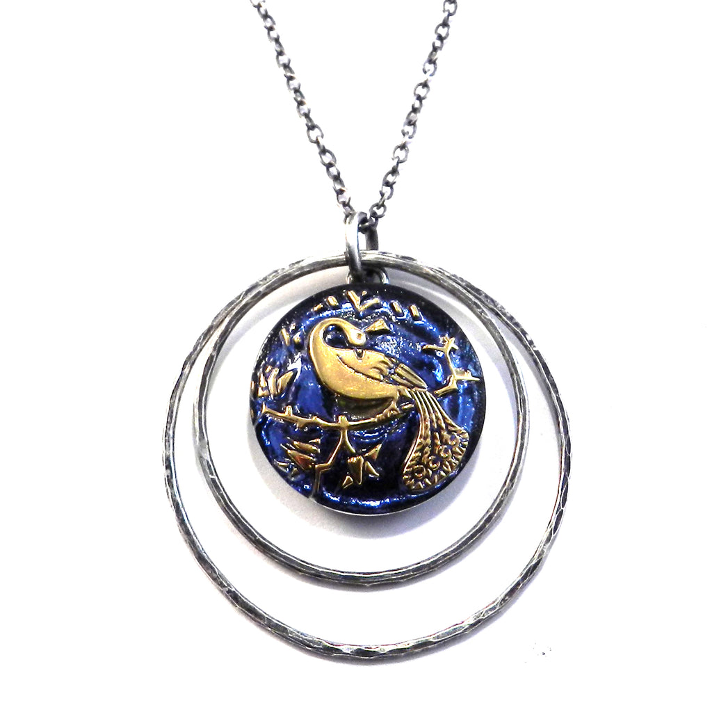 BLUE SKY PEACOCK - Antique Button Necklace - Silver