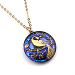 PEACOCK BLUE SUNSET Vintage Button Necklace - GOLD