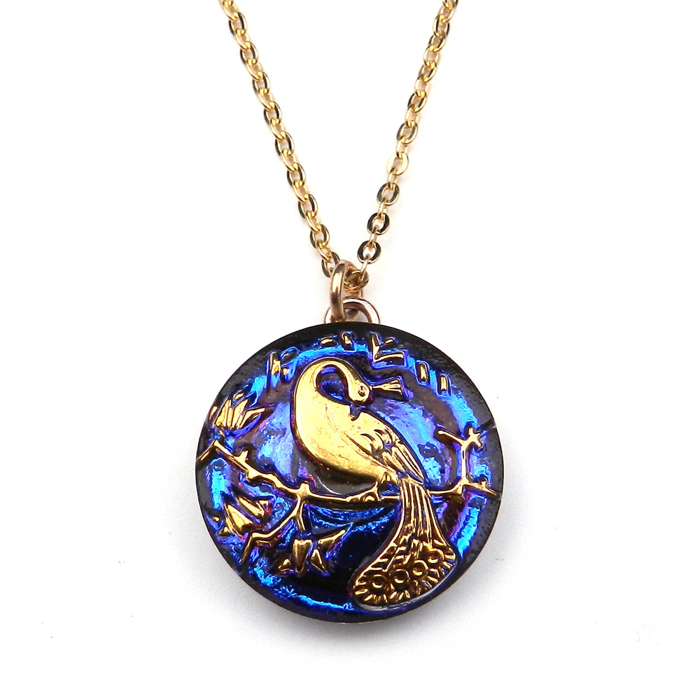 BLUE SUNSET PEACOCK Vintage Button Necklace - GOLD