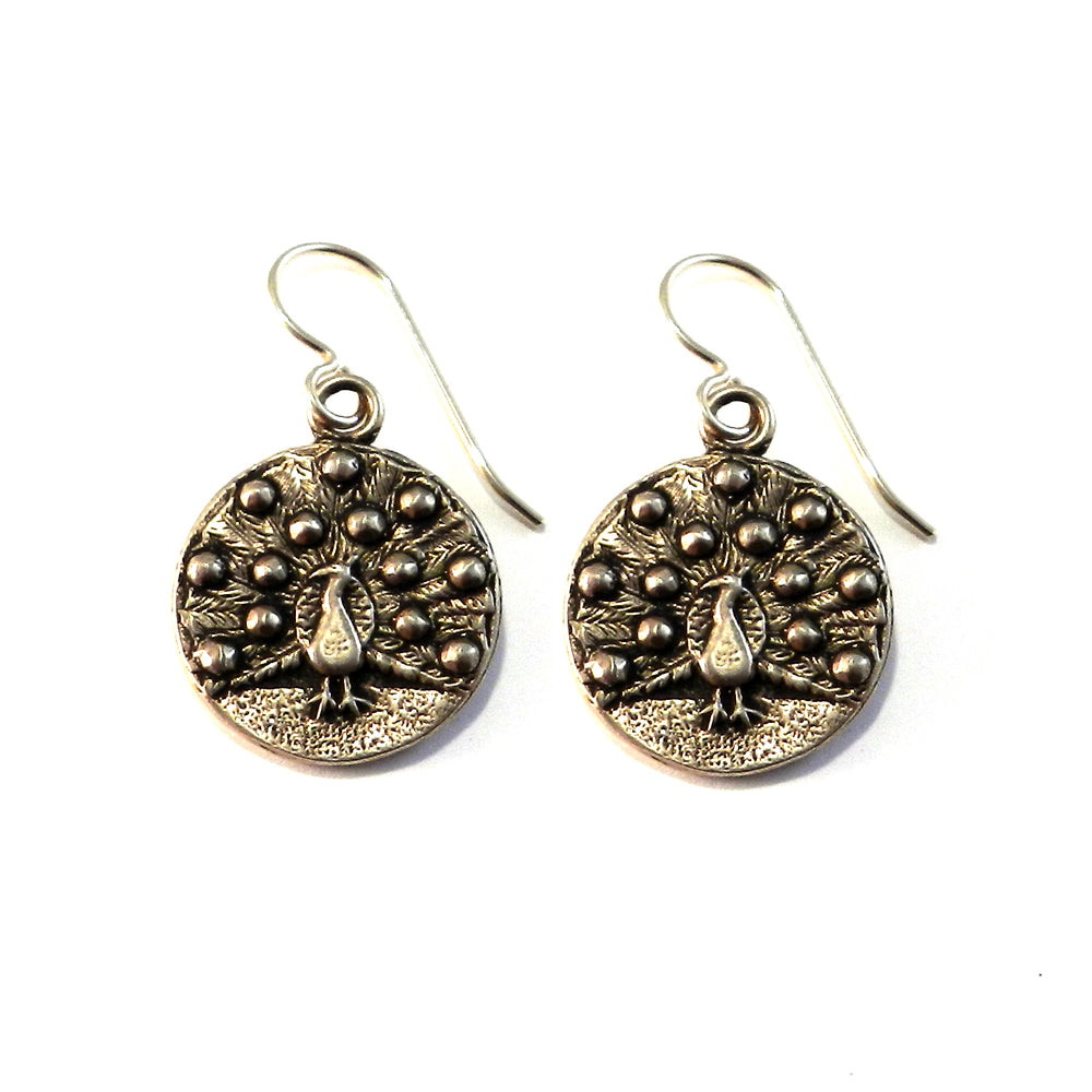 PEACOCK Vintage Button Earrings - GOLD