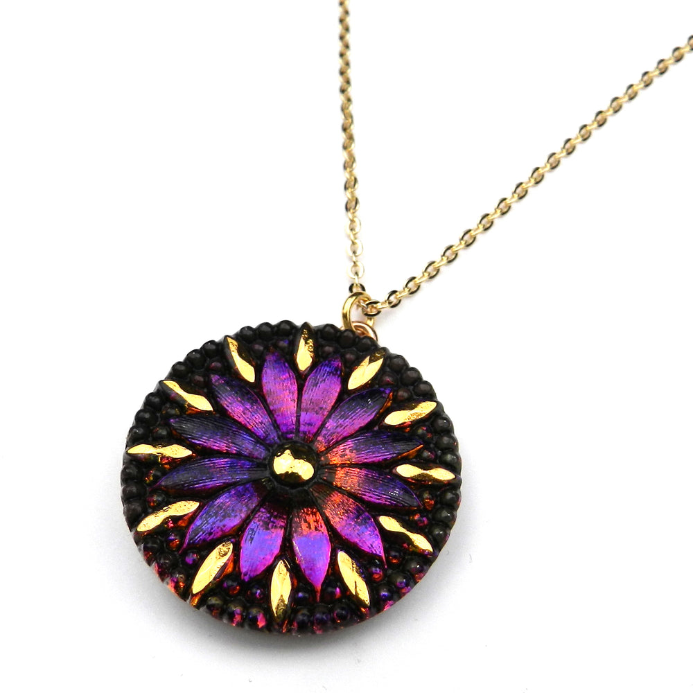 SUNRISE MANDALA Vintage Button Necklace - GOLD