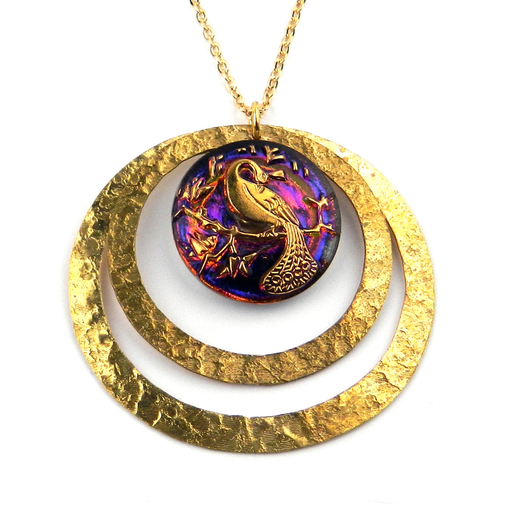 SUNRISE PEACOCK - Antique Button Necklace - Gold