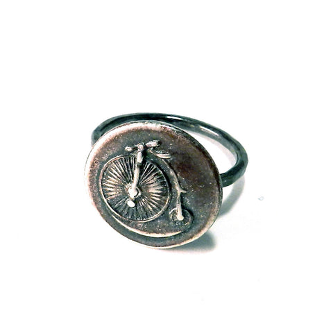 VINTAGE BICYCLE Antique Button Ring - Sterling Silver