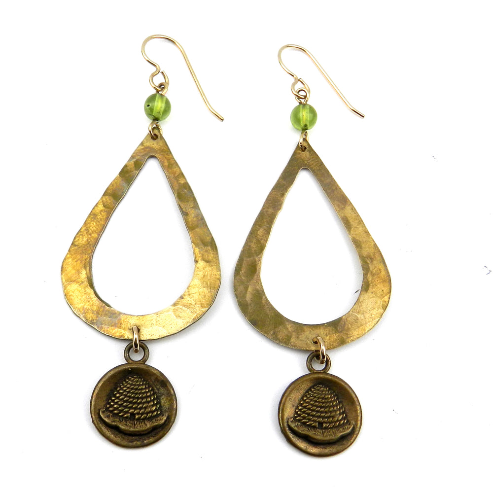 BEEHIVE Teardrop Earrings - GOLD w/ peridot