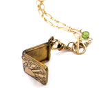 Victorian Locket Watch Fob Peridot Necklace