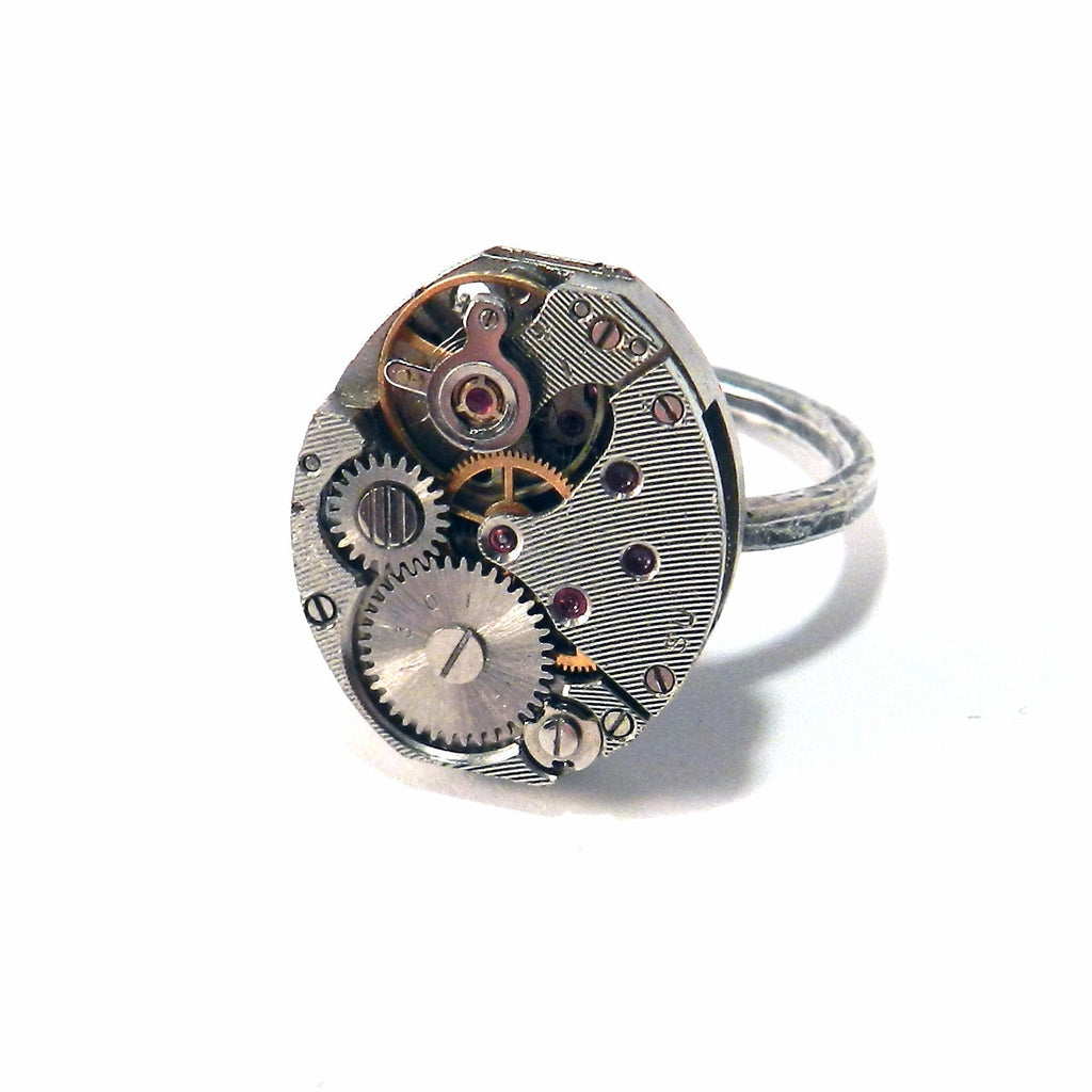 Petite Watch Movement Sterling Silver Ring