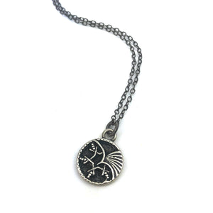 PHOENIX - Vintage Button Charm Necklace - SILVER