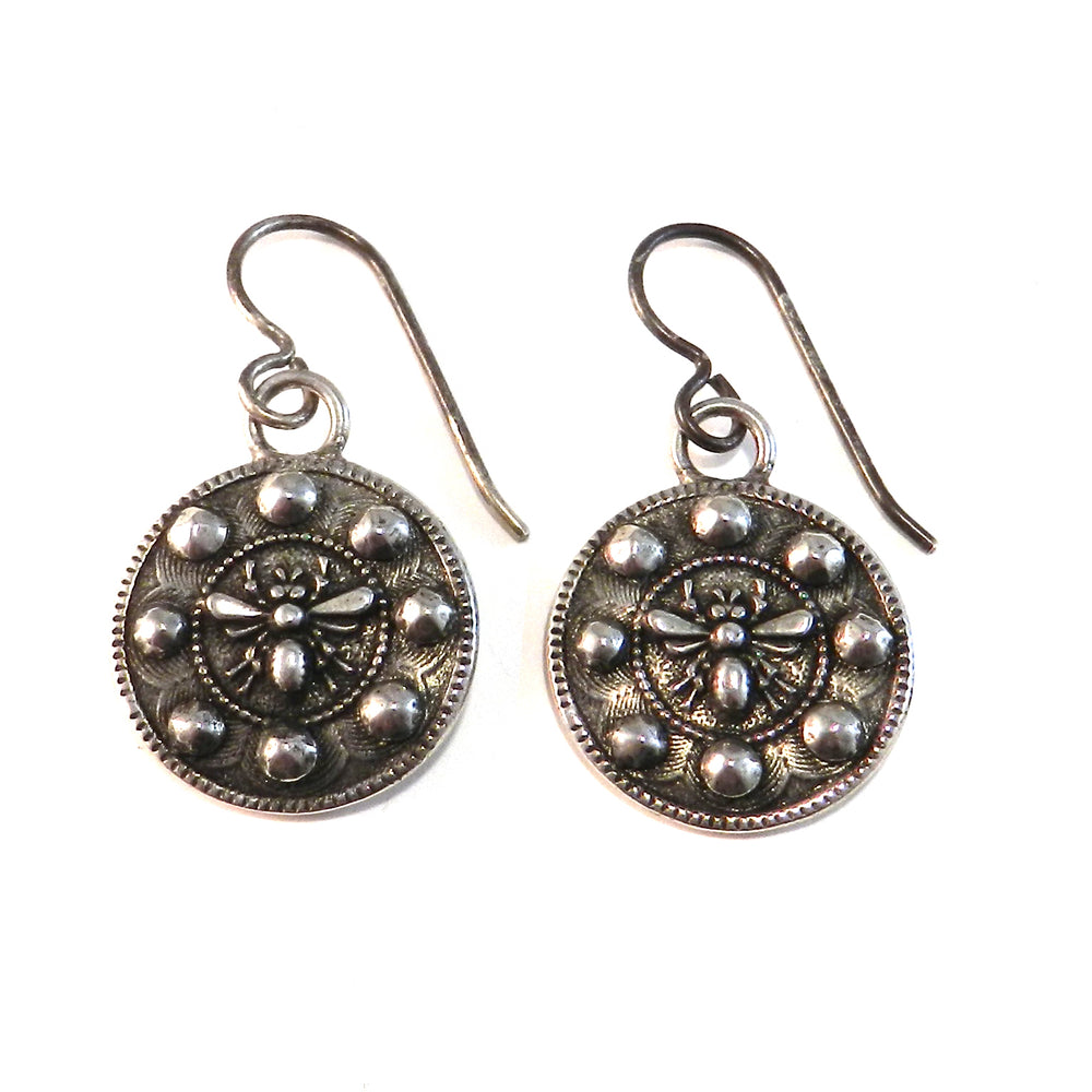 QUEEN BEE Antique Button Earrings - Sterling Silver