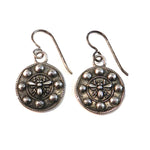 QUEEN BEE Vintage Button Earrings - SILVER