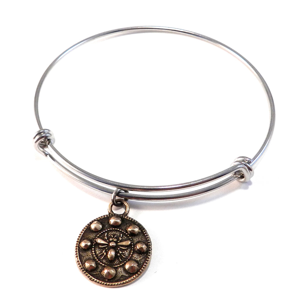 QUEEN BEE Antique Button Bangle Charm Bracelet - MIXED METAL