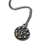 QUEEN BEE Antique Button Necklace - SILVER