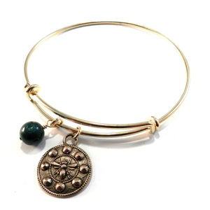 QUEEN BEE Antique Button Bangle Charm Bracelet - BRONZE