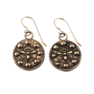 QUEEN BEE Antique Button Earrings - GOLD