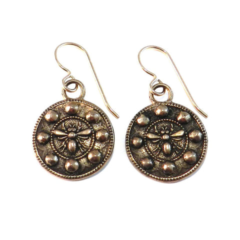 QUEEN BEE Antique Button Earrings - Bronze