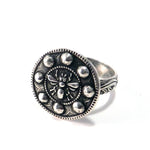 QUEEN BEE Antique Button Statement Ring - SILVER