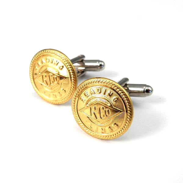 Reading Railroad Lines - Vintage Button Cufflinks