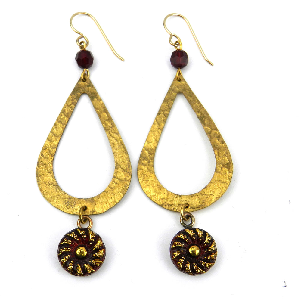 SCARLET Vintage Button Teardrop Earrings - Gold