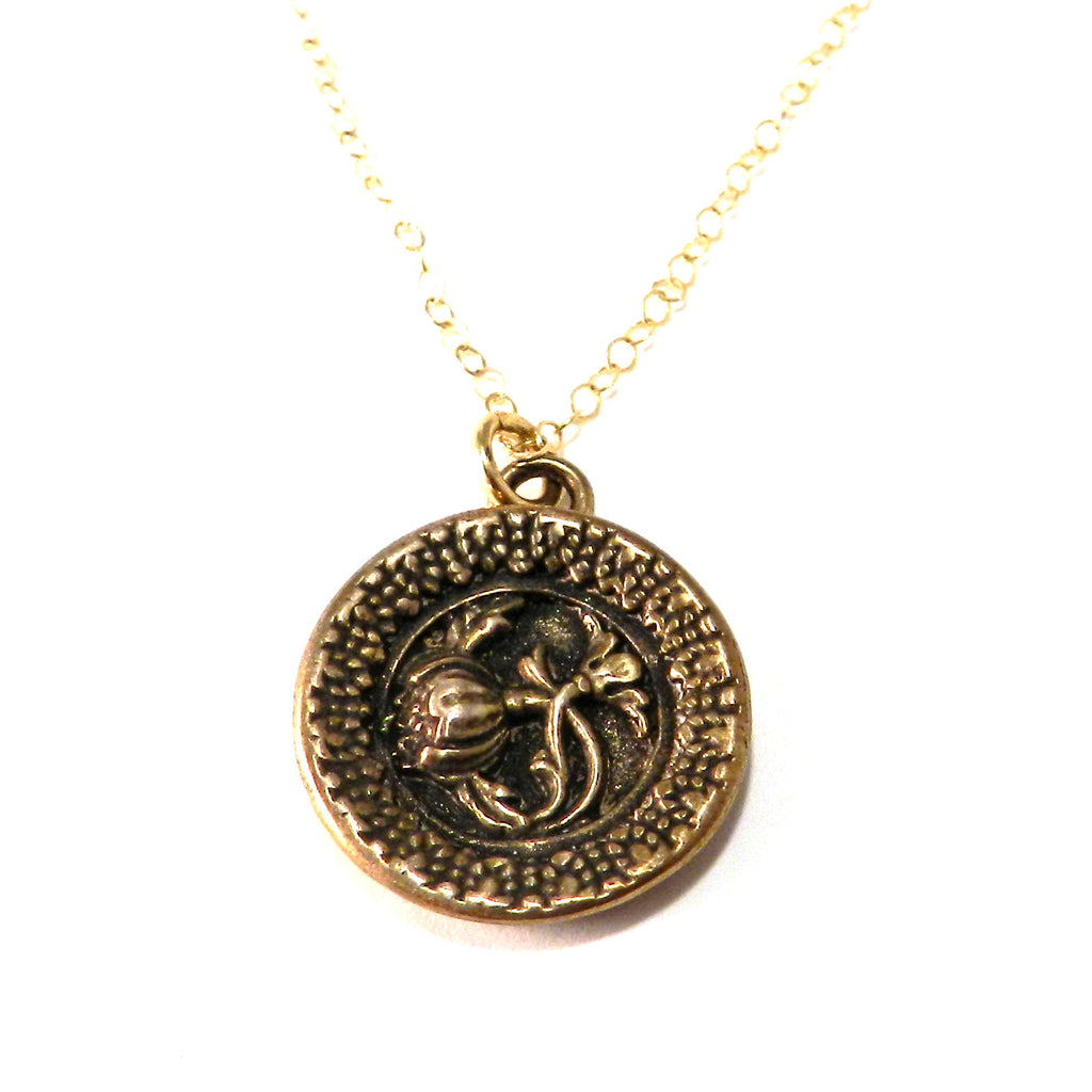 FRENCH ROSE Antique Button Necklace - Bronze