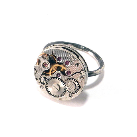 Round Clockwork Ring - Sterling Silver