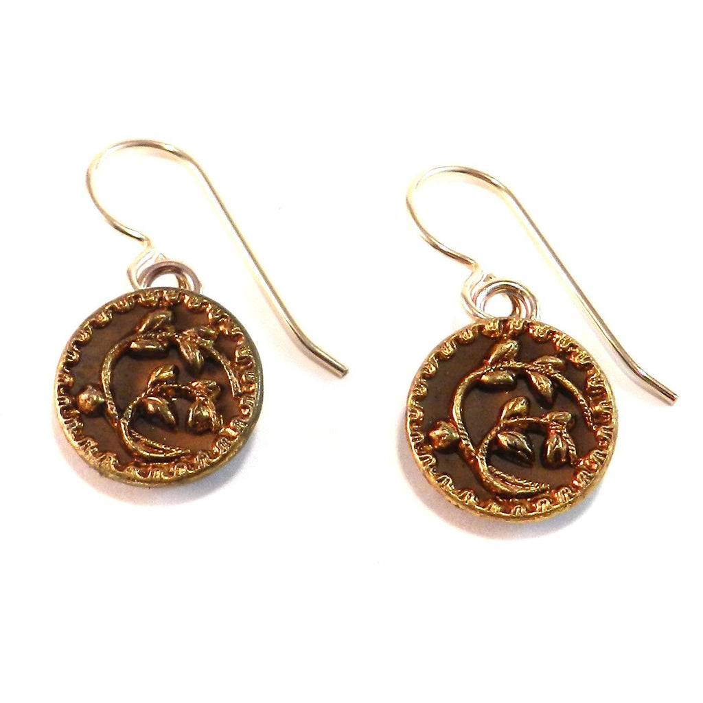 Autumn Vines Antique Button Earrings - Gold