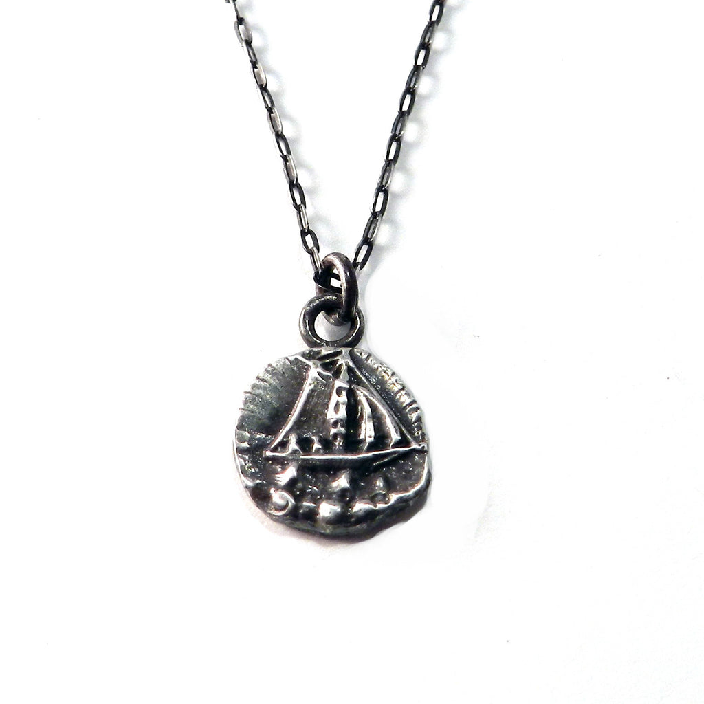 SET SAIL Antique Button Necklace - Sterling Silver