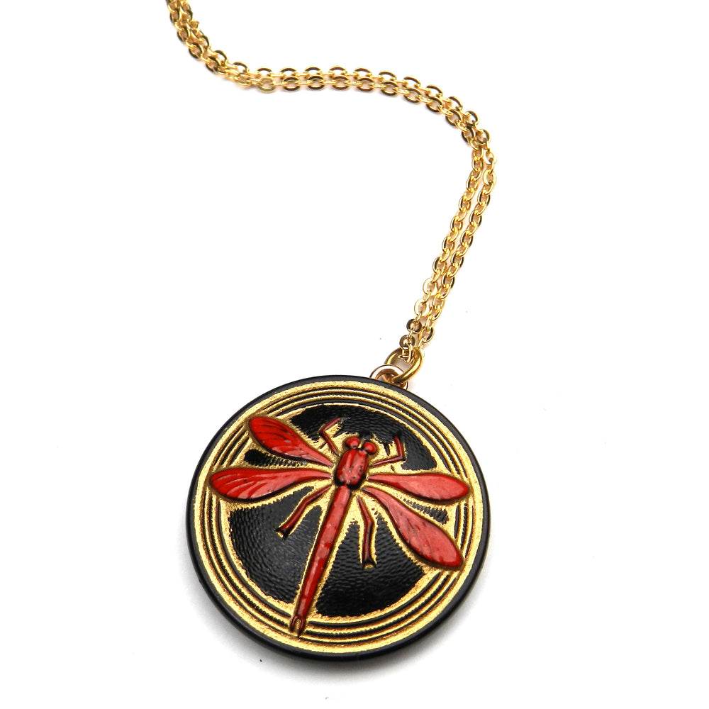 SCARLET DRAGONFLY Vintage Button Necklace - GOLD