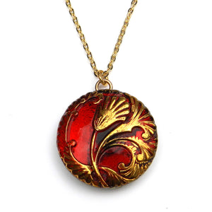 RED TULIP Bohemian Glass Necklace