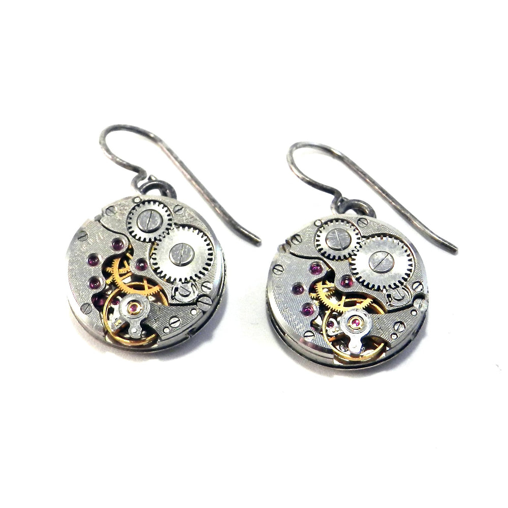 CLOCKWORK Round Earrings - SILVER