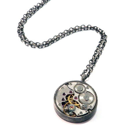 Round Clockwork Necklace - Sterling Silver Bezel