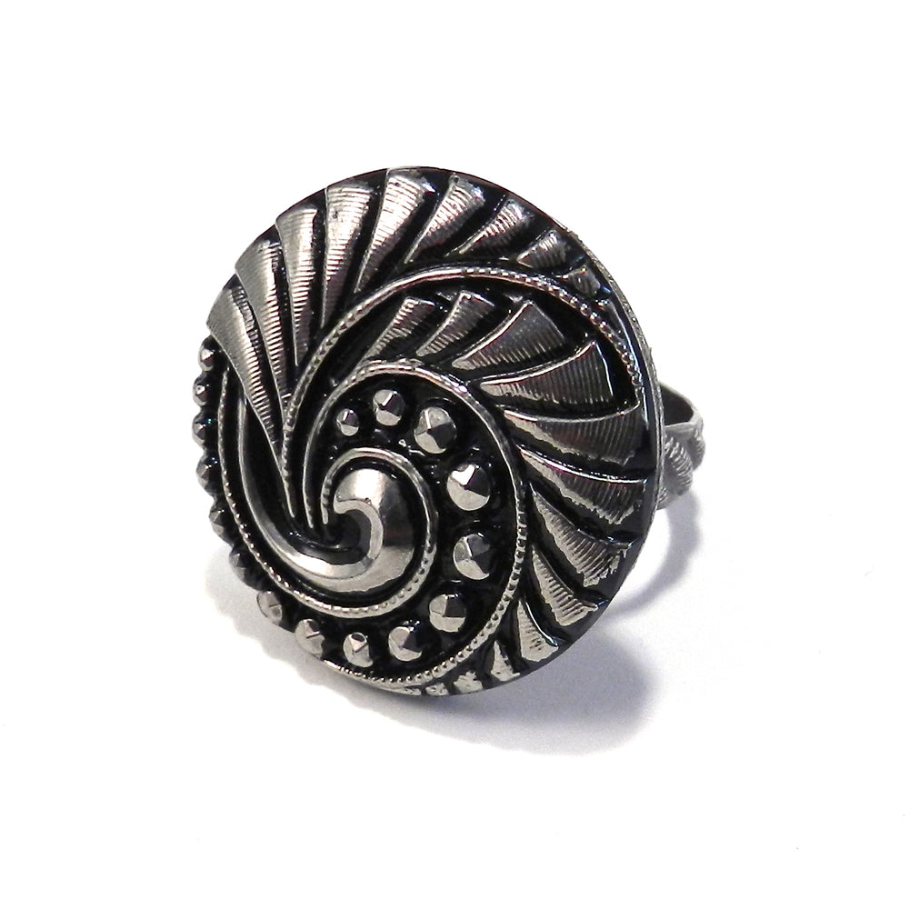 Silver Spiral Vintage Button Ring - Size 8 3/4