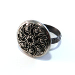 Silver Wheel of Life - Antique Button Ring - Size 9