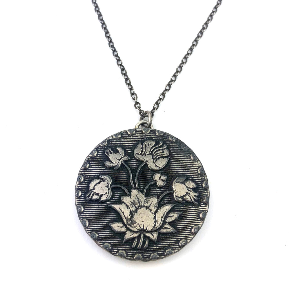 Victorian Lotus Antique Button Necklace - Silver