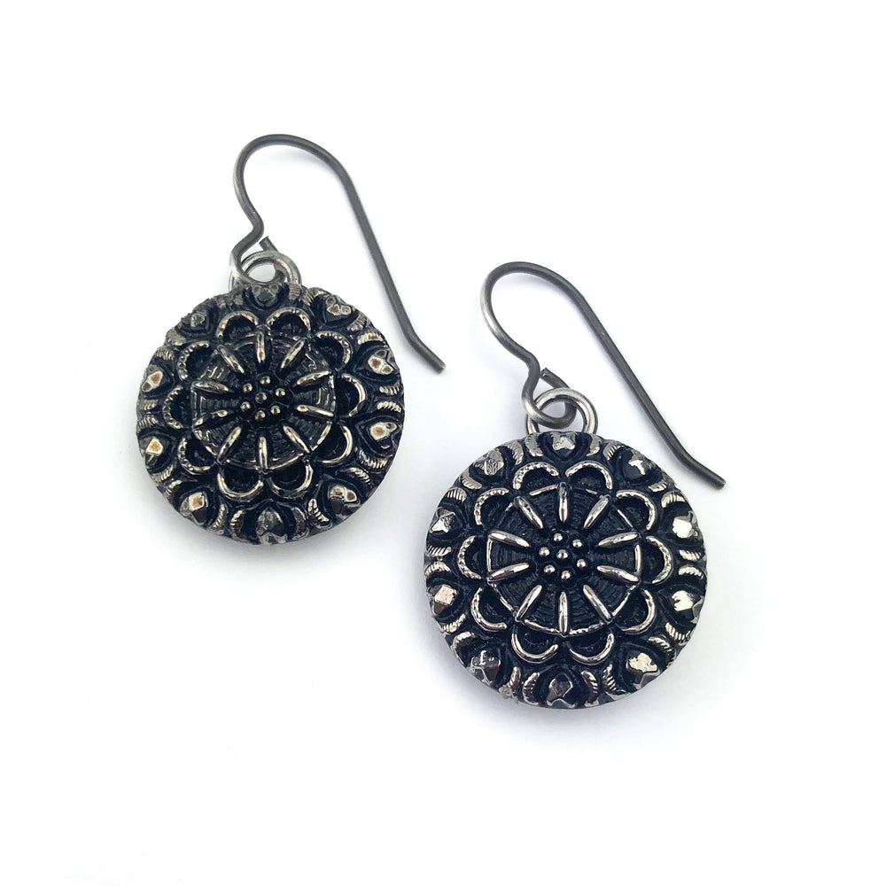 Silver Starlight Bohemian Glass Vintage Button Earrings - Silver