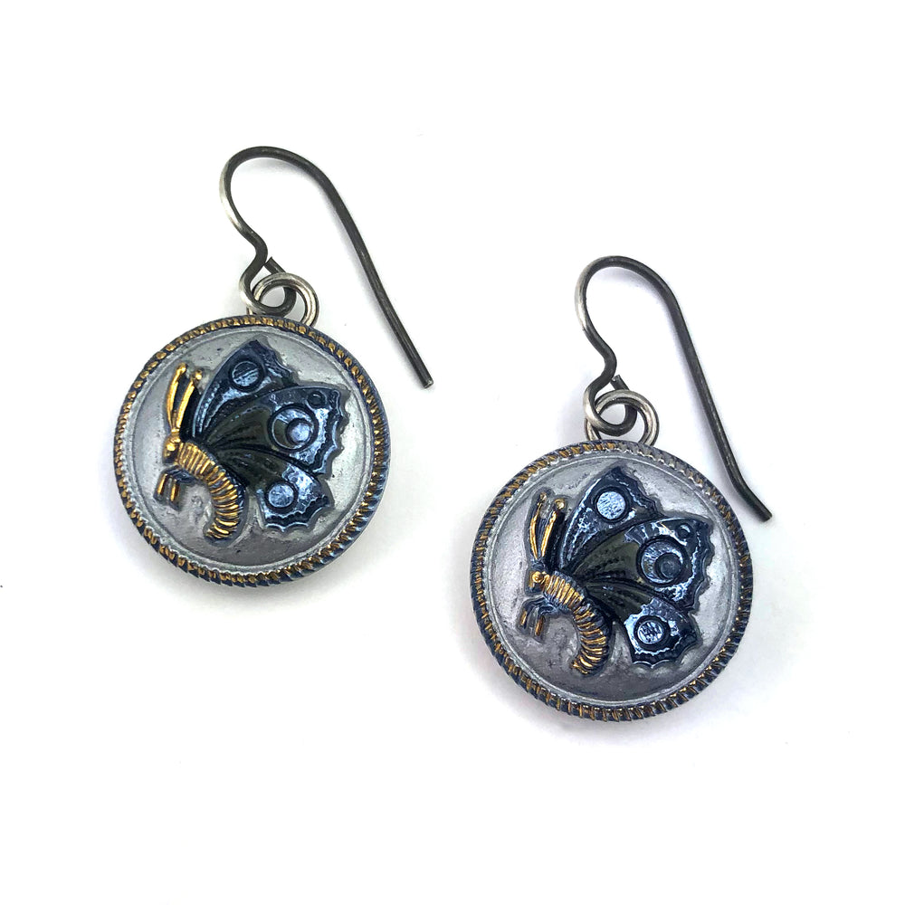 Blue Sky Butterfly Bohemian Glass Vintage Button Earrings - Silver