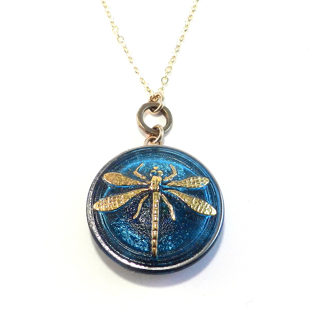 SKY BLUE DRAGONFLY Vintage Button Circlet Necklace - GOLD