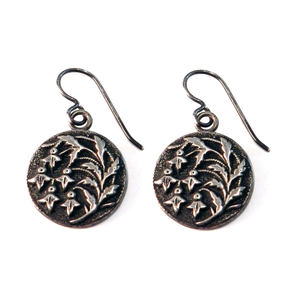 SNOWDROP Antique Button Earrings - SILVER