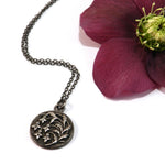 SNOWDROP Flower VIntage Button Necklace - Silver