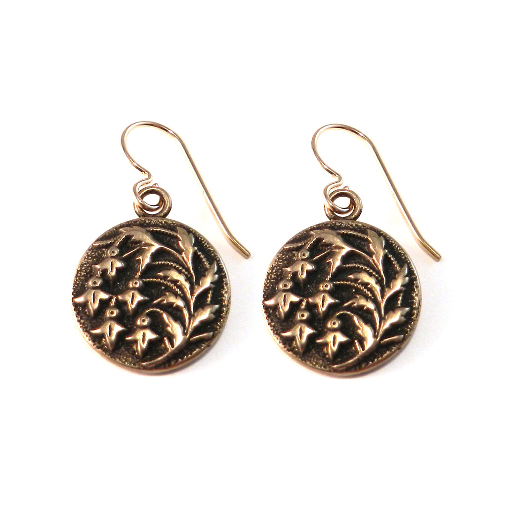 SNOWDROP Antique Button Earrings - BRONZE