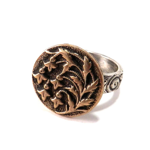 SNOWDROP Antique Button Statement Ring - MIXED METAL