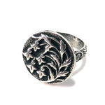 SNOWDROP Antique Button Statement Ring - SILVER