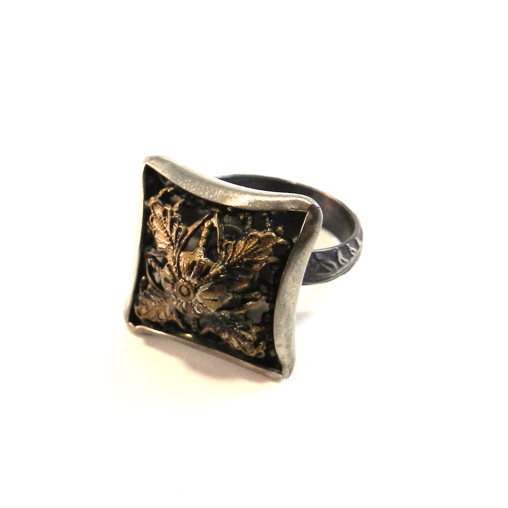 Square Dome - Antique Button Ring - Size 8
