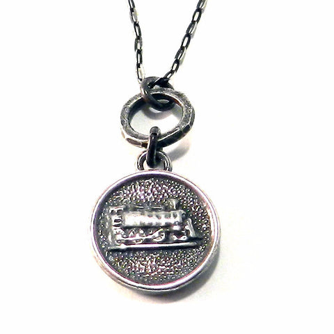 STEAM TRAIN Antique Button Necklace - Sterling Silver