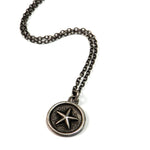 STAR Antique Button Necklace - SILVER