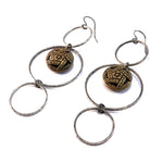 Victorian Mirror Button Trilogy Earrings - Sterling Silver