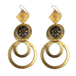 MIRROR SPARKLE Antique Button Gold Statement Earrings