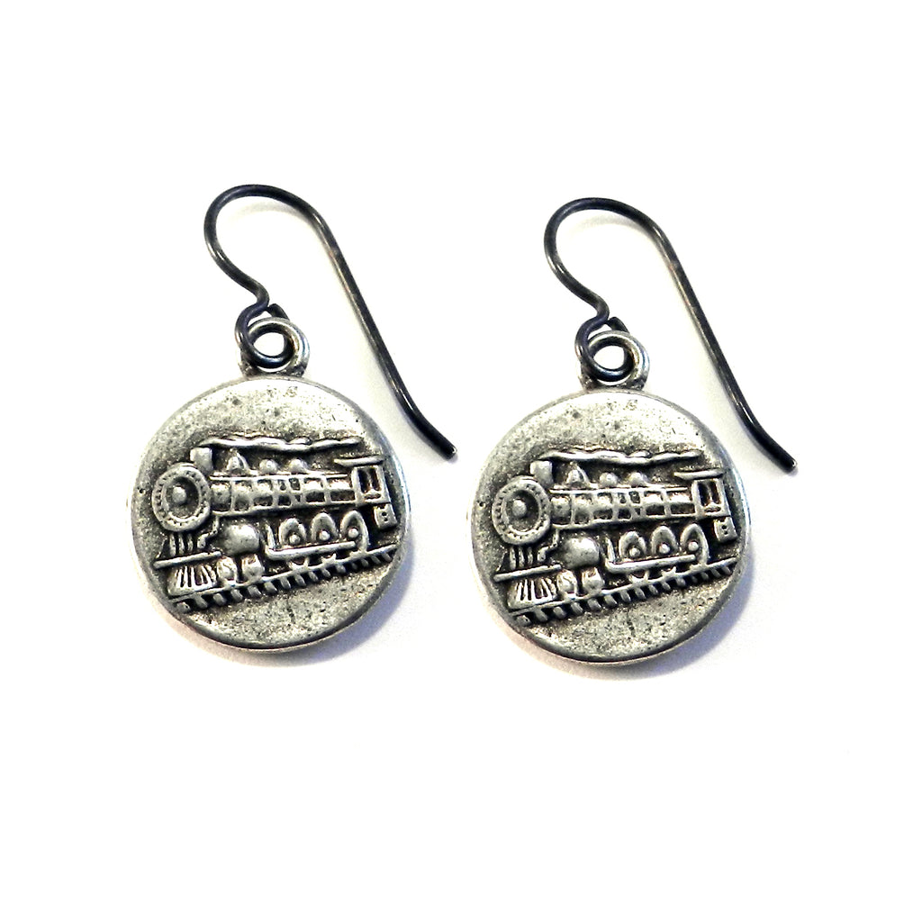 STEAM TRAIN Antique Button Earrings - SILVER