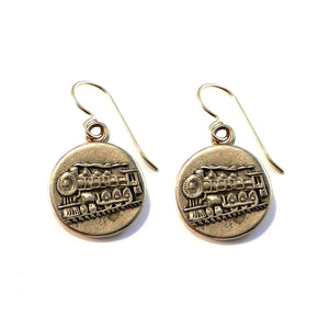 STEAM TRAIN Vintage Button Earrings - GOLD