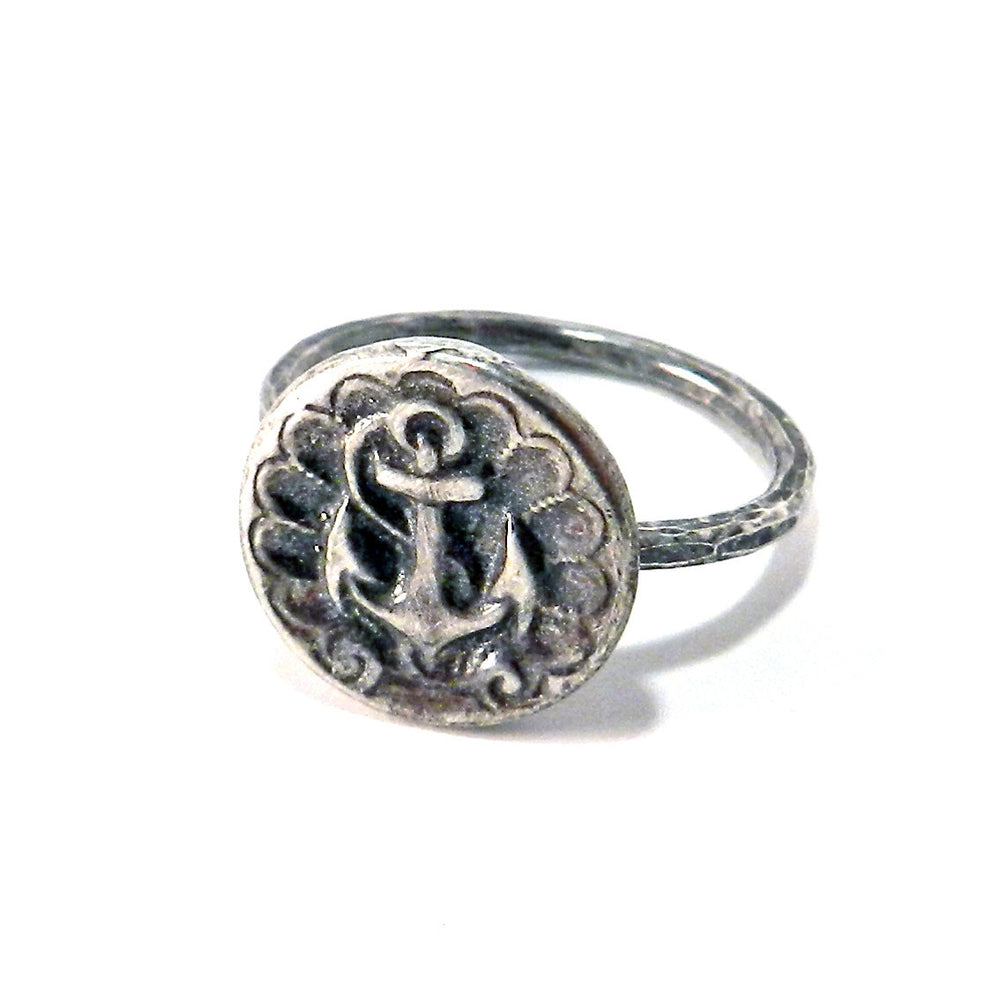 SHIPS ANCHOR Classic Antique Button Ring - SILVER