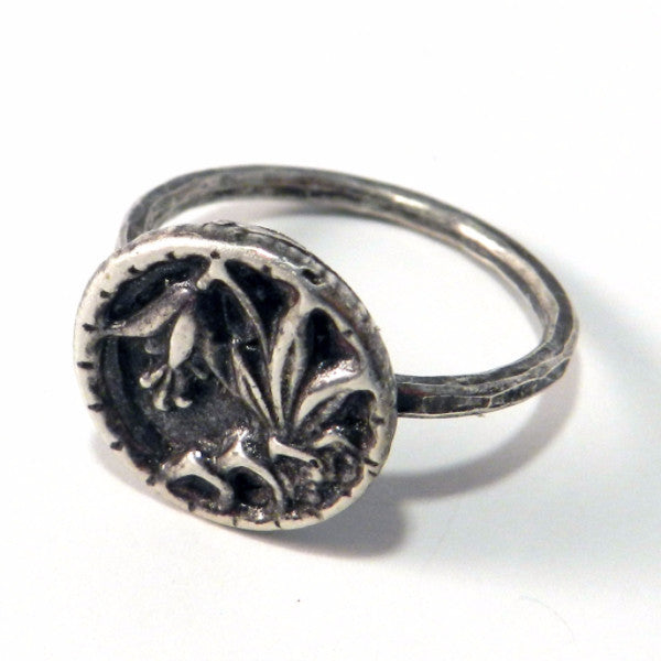 LILY Antique Button Ring - Sterling Silver