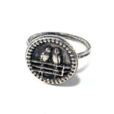 Lovebirds Antique Button Ring - Sterling Silver